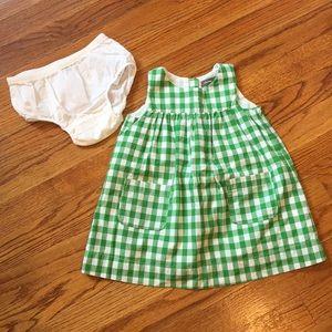 Green Checked Baby Gap Dress  Sz 12m